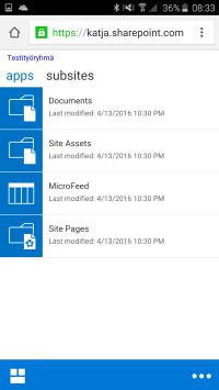 SharePoint-sivusto mobiilinäkymässä