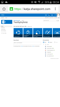 SharePoint-sivusto mobiiliselaimessa